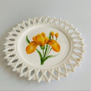 Vintage Lattice Milk Glass Plate